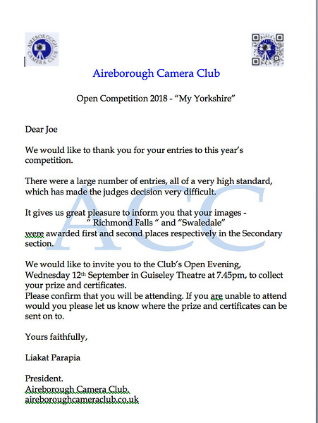 Aireborough Camera Club prizes notification