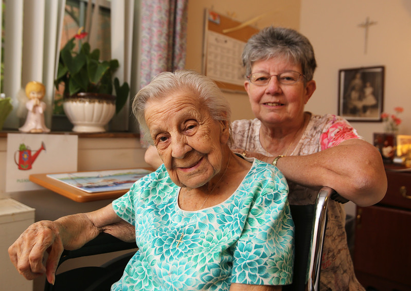Lillian Pratte, who lives at Willow Manor in Lowell, and will celebrate her 105th birthday on the Fourth of July, with daughter Pat Van Lenten of Laconia, N.H. (SUN/Julia Malakie)