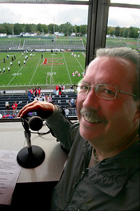 2OCT09  15 minutes Greg Horace Pioneer announcer, former principal and ftb coach.  photo by Chuck Humel