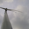 1.5MW wind turbine at McNeilus wind farm.  IEEE tour.  Wind was blowing about 40mph (note blades bending)