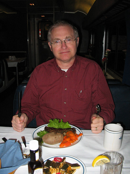 Dinner on the Empire Builder on the way to Whitefish, MT