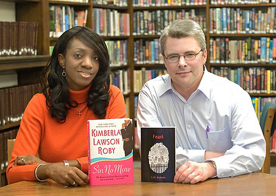 Belvidere authors Kimberla Lawson Roby with her new book Sin No More and L.M. Roberts with his new book Feast.