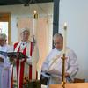 Worship begins - Joan, Bishop Cate, Deacon Anderson.