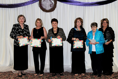 2014 Service Awards Jessie Johnson, Kay Lynn Looney, Carolyn Ryan, DeAnn Stewart, Floy Davis, and Christie Williams