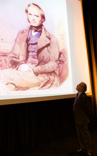 Professor Nicholas Day CBE FRS looks up at youthful Darwin 071109