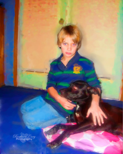 Well, this isn't exactly Adrienne's friend, but close enough, her brother, Jordan. Here he is with one of their dogs, Ambrosia.