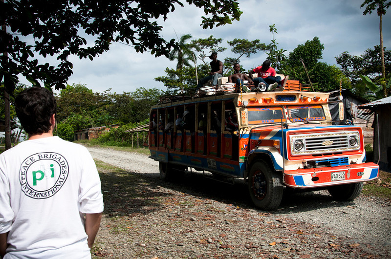 To reach the community it is necessary to drive 9km over unpaved roads. Here the chiva is taking passengers to Buenaventura.