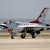 F-16 Thunderbirds on display during an open house and air show at March Air Reserve Base in Moreno Valley, California.