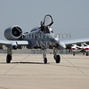 An A-10 Warthog attack military plane taxies during an open house and air show at March Air Reserve Base in Moreno Valley, California.