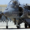 An AV-8 Harrier military jet parked and on display during an open house and air show at March Air Reserve Base in Moreno Valley, California.