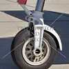 Front wheel of an airplane.