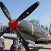 Propeller plane on display during an open house and air show at March Air Reserve Base in Moreno Valley, California.