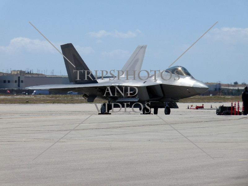 F-22 Raptor fighter jet parked at the flightline during the Airshow and Festival at March Air Reserve Base in Moreno Valley, California.