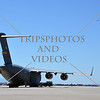 The C-17 Globemaster military cargo aircraft standing by during an air show event at March Air Reserve Base near Moreno Valley, California.