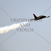 A Patriots jet flies over during an airshow at March Air Reserve Base near Moreno Valley, California.