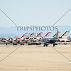 A US Air Force military aircraft taxies by the Thunderbirds jets during the 2016 Air Show event at March Air Reserve Base near Moreno Valley, Californi