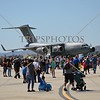 The C-17 Globemaster military aircraft on display during an air show event at March Air Reserve Base near Moreno Valley, California.