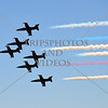 The Patriots jets fly over during an airshow at March Air Reserve Base near Moreno Valley, California.