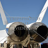Tail engines of the F-18 Hornet NASA aircraft on display during an air show event at March Air Reserve Base near Moreno Valley, California.