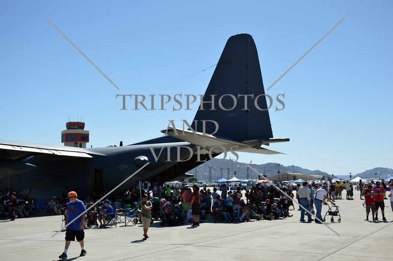 The tail end of the C-130 Hercules aircraft during an air show event at March Air Reserve Base near Moreno Valley, California.