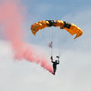 A paratrooper jumps  during the 2018 Airshow at March Air Reserve Base in Moreno Valley, California.