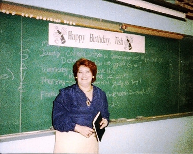 Leticia Chavez Fischer in her classroom at Lorain High in the late 1980s on her birthday.