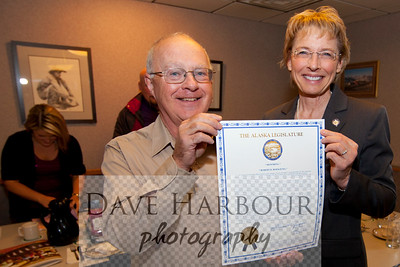 Cathy Giessel and Bob Hoekzema, AMA, Alaska Miners Association, Legislative Citation, Photo by Dave Harbour