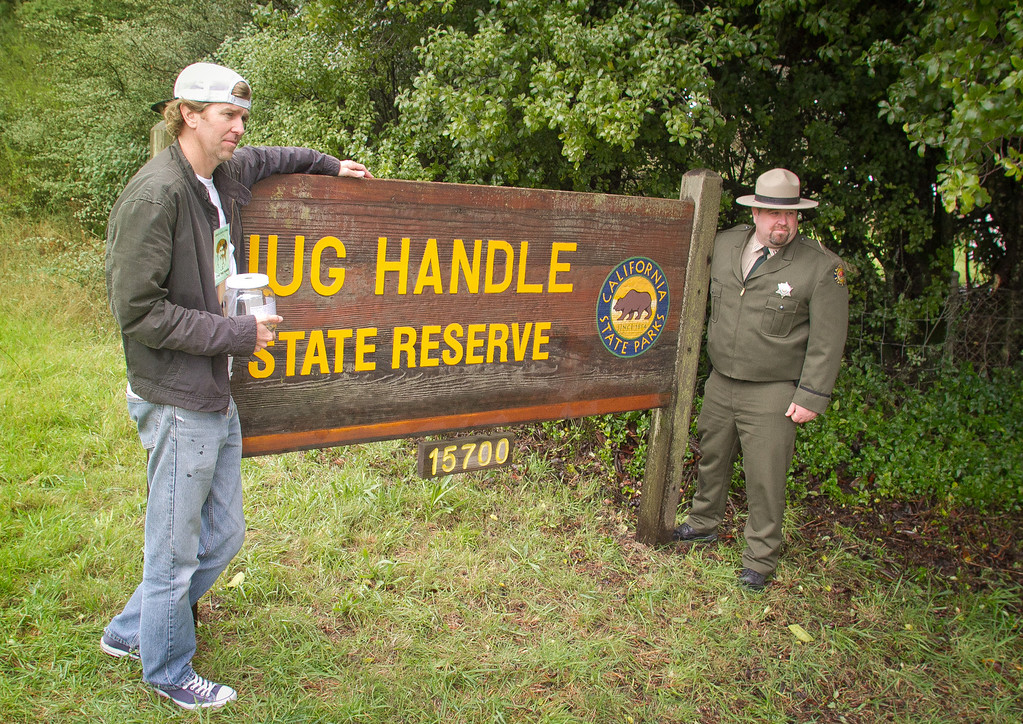 Alden Olmsted has his picture taken with Loren Rex with the California State Parks Department at Jug Handles Sate Park in Caspar, Calif. on March 16th, 2012. Olmsted is collecting private money to save California State Parks on the closure list.