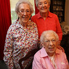 Allie Casazza of Tewksbury, left, recently celebrated her 100th birthday with family and friends including her sisters Theresa Berube, 96, front, and Rita O'Brien-Dee, 88, right, also of Tewksbury. They are at Casazza's home. (SUN/Julia Malakie)