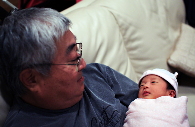 Grandpa and Ally (12 days old)