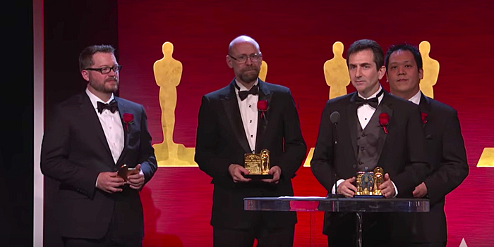 New College alum Steve Rosenbluth accepts an Academy Award for Scientific and Engineering achievement in February.