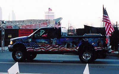 Painted truck on the site of the World Trade Center in New York City, USA