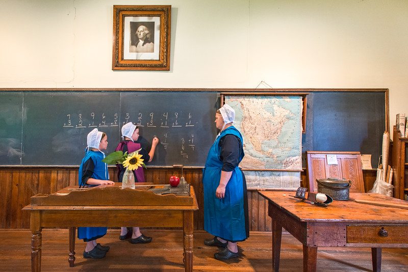 Amish Children and Teacher In School