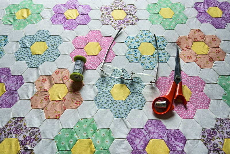 Amish Quilt On Quilting Table
