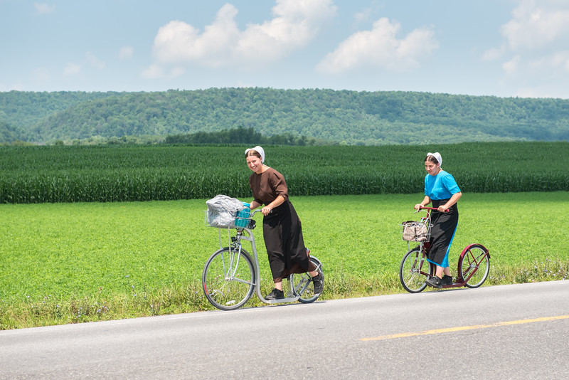 Amish Girls On Scooters