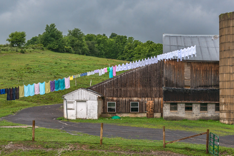 Amish Laundry On Cloudy Day