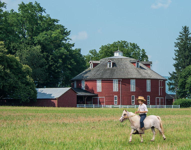 Amish Boy Rides Pony Near Historic Round Barn