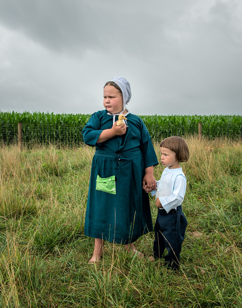Amish Sister & Brother With Baby Duck