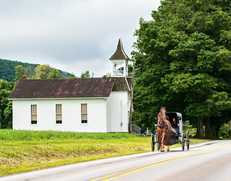"Amish Buggy Passing Small ""English"" Church"