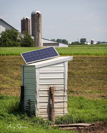 Solar powered phone booth