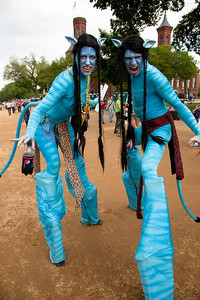 A couple made up as characters of the environmentally themed movie Avatar join the thousands gathered for the Climate Rally held at the National Mall in Washington DC, a free concert for the 40th anniversary of Earth Day.  April 25, 2010.  (Photo by Jeff Malet)