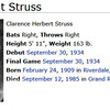 "Clarence ""Steamboat"" Struss - MLB - Born in Riverdale, IL - pitched one game in the majors for the Pittsburgh Pirates<br /> <br /> <a href=""http://en.wikipedia.org/wiki/Steamboat_Struss"">http://en.wikipedia.org/wiki/Steamboat_Struss</a>"