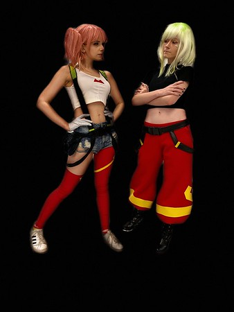 Ashely (right) as Lio from Promare with Olivia as Aims from Promare. Image by Dan Smigrod
