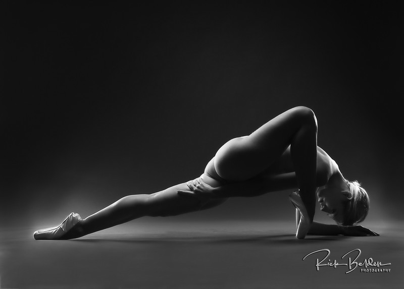 """The last shot of the """"Body Art"""" series wtih my friend the @poppyseed_dancer She has the perfect combination strength, balance and overall athletic beauty.  I am passionate about creating Art with people like Her!  Photos taken in my studio @rickbeldenphotography .   ........     .    .      .   ...........................................................    .   .........  ."""