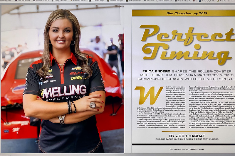 """While you are waiting for it in the mail you can go check out the new issue of @DragIllustrated online at  <a href=""""http://www.drgillustrated.com"""">http://www.drgillustrated.com</a>   .............   When I first started shooting for the magazine I had a goal to work with the greatest Drivers in World.  For the most part I had accomplished that goal....with one really notable exception!  Recently I finally got the chance to photograph not only one of the most accomplished Females in the history of all Motorsports but one the the very best Drag Racers of all time... The newly crowned (3) Time World Drag Racing Champion .. The Legend.... Ms.  @ericaendersracing  ......   Big Thank you to my Friends at Drag Ilustrated and of course the amazing @ce_me_dia  for helping to coordinate this shoot and my Photo Assistant:  @redhot_rebellion ...................................................."""