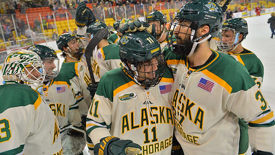 October 11, 2014: during a game between UAA and Wisconsin.  hockey-team_18974617389_o.jpg