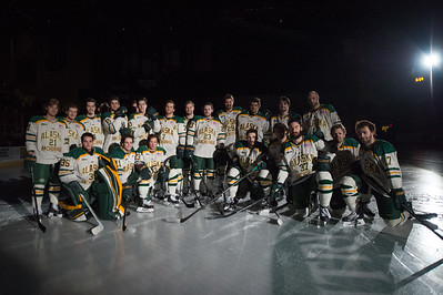 The UAA Hockey team poses at center ice before their final game of the season on Saturday.  eyeontheseawolves_59_18538230744_o.jpg