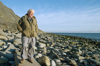 Sir David Attenborough in Lyme Regis - taken whilst filming Attenborough and the Sea Dragon - BBC One, Sunday Jan 7th, 8pm... The beach where we extracted the beautiful Ichthyosaur (the Sea Dragon) is west of Lyme Regis, a very special place to me. As a student I spent a lot of time there carrying out research, it's where I did my first ever BBC film shoot almost 15 years ago, and where I proposed to my wife Donna. I was thrilled to be there with David Attenborough and the rest of the team as we painstakingly extracted the huge fossil from high in the cliffs. #Fossil #SeaDragon #Ichthyosaur #LymeRegis #Palaeontology #Attenborough #EarthOnLocation #BBCEarth