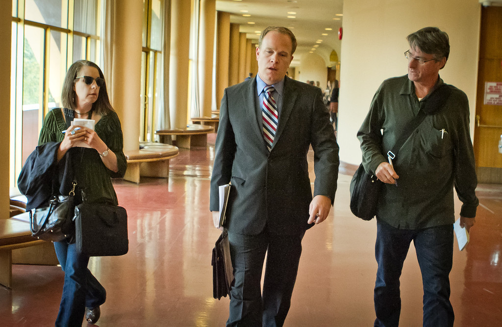 Attorney Charles Dresow talks with reporters outside the court room after his client, alleged Lamborghini thief, 17-year-old Max Wade, was arraigned in the Marin County Court House in San Rafael, Calif., on Tuesday, May 1st, 2012.