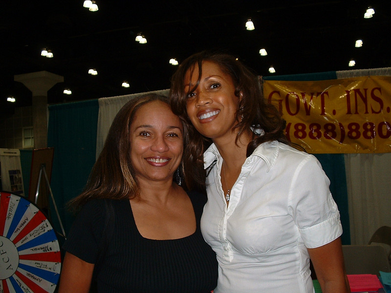 Actress Ella Joyce (Roc) poses with Myra Wallace, Expo Director.